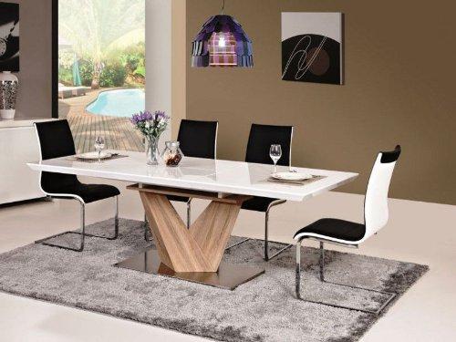 Jadella Essgruppe Tisch + 6 Stühle Hochglanz Weiß Esstisch Alaras 90x160x75 ausziehbar auf 220cm Säulentisch Sonoma Eiche Holz