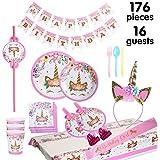 Kingyao Einhorn-Party liefert Dekoration Set 176 Stück für Geburtstagsparty-16 Gäste-Geburtstag-Ammer, Strohhalme, Blowouts Pfeifen, Unicorn Stirnband, rosa Satin-Schärpe für Mädchen