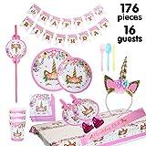 Set di articoli per feste unicorno e set di stoviglie 176 pezzi per 16 persone, kit di decorazioni di compleanno per ragazze - Zigoli di compleanno, piatti, tazze, tovaglioli, cannucce, fischietti...