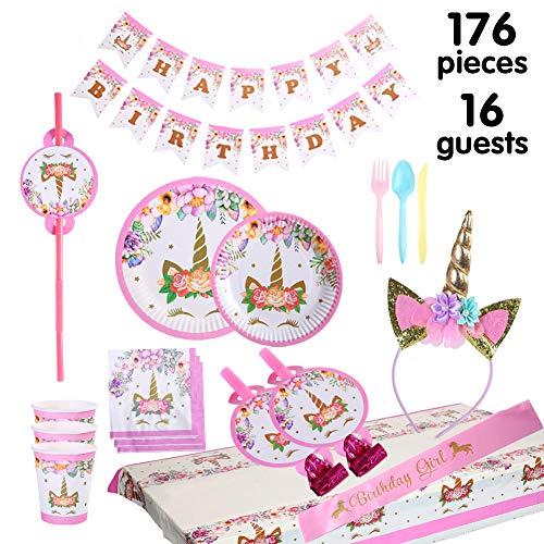 y liefert Dekoration Set 176 Stück für Geburtstagsparty-16 Gäste-Geburtstag-Ammer, Strohhalme, Blowouts Pfeifen, Unicorn Stirnband, rosa Satin-Schärpe für Mädchen ()