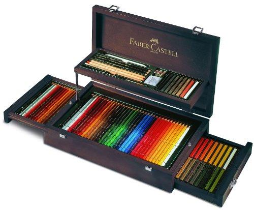Faber-Castell 110086 – Estuche de madera de 108 piezas con equipo básico de las 3 gamas, ecolápices polychromos, tizas, grfitos y accesorios