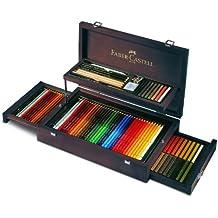 Faber-Castell 110086 - Estuche de madera con equipo básico de las 3 gamas, ecolápices polychromos, tizas, grfitos y accesorios