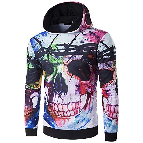 Jaminy Herren Langarmshirt Schädel Bluse Halloweenspullover Langarm T-Shirt Slim Fit Halloween 3D Schädel Druck Herbst Oberteile M-2XL (M, Mehrfarbig)