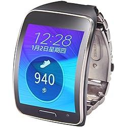 Kingko® Stainless Steel Metal Watch Band Wrist Strap Bracelet For Samsung Gear S SM-R750 (Black)