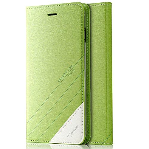 MOONCASE iPhone SE Custodia, Premium Protettiva in pelle Bookstyle Flip Cover Stand Case per iPhone 5 / 5S / iPhone SE Blu Verde