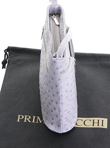 Primo Sacchi , Damen Umhängetasche Strauß-hellgrau