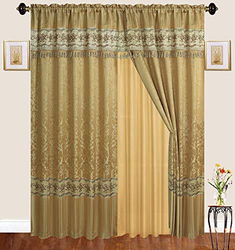 122L Vorhänge mit Stickereien, 2 Paneelstaben, Bestickt, mit durchsichtiger Rückseite, für Wohnzimmer, Esszimmer oder Schlafzimmer Gold ()