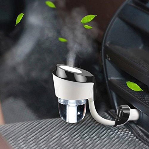 QIHANGCHEPIN Auto Luftbefeuchter 12 V Luftreiniger Aroma Diffusor Mit Automatische Abschaltung System 2 USB Ports 12 V/24 V Auto Ladegerät (Schwarz) (Farbe : Schwarz) (System Ersatzfilter Luftreiniger)