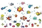 HALLOBO® Wandtattoo Tiefsee Fisch Meer Ozean Wandaufkleber Kinderzimmer Bad Wand Sticker