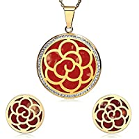 AnazoZ Womens Stainless Steel Gold Red Hollow Out Flower Cubic Zirconia Earring Necklace Jewelry Sets