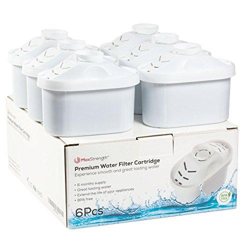 Max Strength Pro - Juego de 6 cartuchos de filtro de agua compatibles con Brita Maxtra® y XL Jugs, 6 meses de suministro de filtros sin BPA, también compatible con Mavea Maxtra, Elemaris, Marella