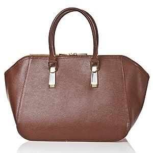 italienische Damen Handtasche Paris aus echtem Leder in haselnuß braun, Made in Italy, Shopper Bag 43x24 cm