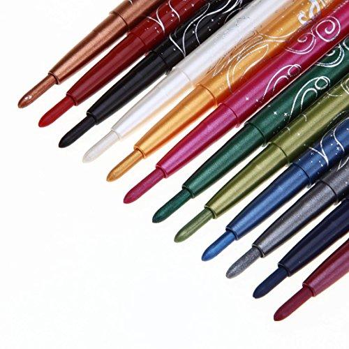 Winwintom Lip Liner 12 Couleurs Sourcils Glitter Ombre LèVres EyeLiner Crayon Stylo CosméTique Maquillage Ensemble (A)