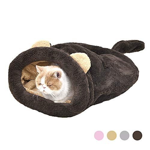 Eono Essentials Katze Schlafsack Haustier Beutel Weich Warm Waschbare Kätzchen Bett Winddicht Sack Kuschelig Tasche Decken Matte Für Kitty Kleine Tiere Braun -