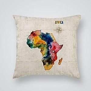 tashermanstore 20x 20pulgadas decorativo algodón poliéster cuadrado manta funda de almohada Funda de cojín África mapa diseño de impresión