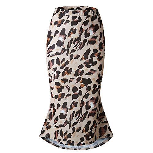 Damen Leopard Gedruckt Rock, Quaan Hoch Taille Sexy Bleistift Bodycon Hüfte Mini Beiläufig Retro Party Abschlussball Swing Abendessen Kleid Klassisch Lange Kleid -