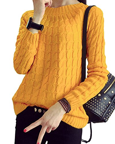 Minetom Mujeres Redondo Cuello Sueter Flojo Jersey De Punto Abrigo Otoño Invierno Pullover Blouses Amarillo One size