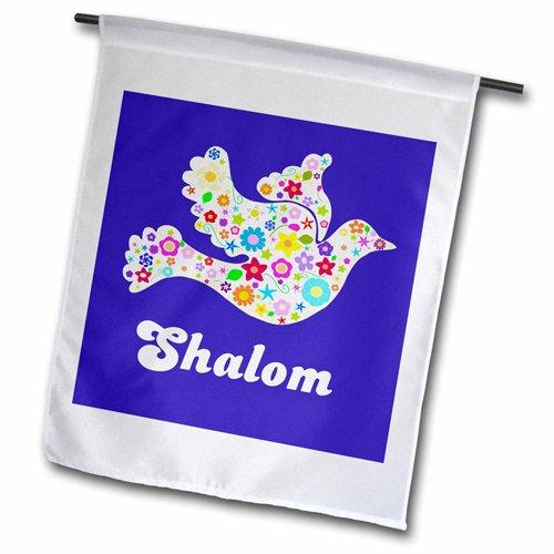 3dRose FL_58350_2 Weiße Blumenfahne Friedenstaube mit Schleimtext jüdisch, hebräisch, Judentum, 45,7 x 68,6 cm