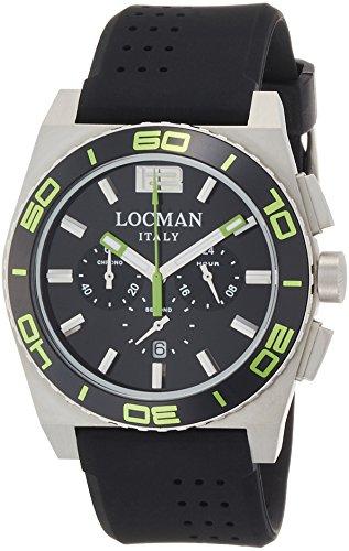 Locman Herren Chronograph Quarz Uhr mit Gummi Armband 21200KG-BKKSIK