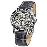Ingersoll Armbanduhr Herrenuhr Automatik Nez Percé - Analoge Uhr mit grauem Lederarmband und silbernem Zifferblatt - 30m/3atm - IN1918SL