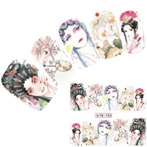 Just Fox - Tattoo Nail Art Autocollants Anime Manga Japon Geisha Water decall