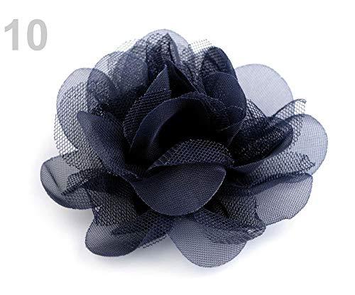 4stück 10 (9 Cm) Dunkelblau Chiffon Blume Ø8 Cm, Textilblumen, Verzierungen Für Kleidung, Schuhe Und Zubehör, Kurzwaren -