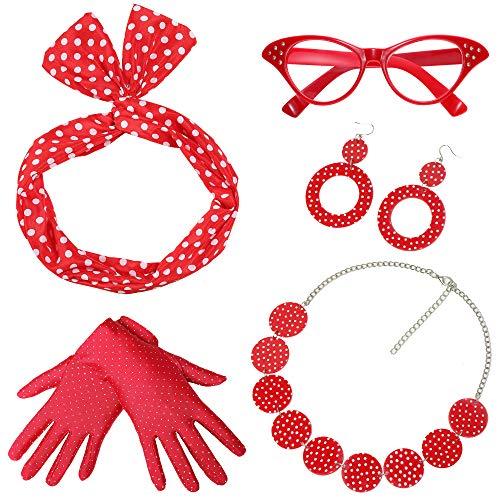 Coucoland 50er Jahre Rockabilly Kostüm Accessoires Damen 1950s Zubehör Set Inklusive Polka Dots Bandana Haarband Ohrringe Handschuhe Katzenaugen Sonnenbrille Chiffon Schal (Rot - Stil 2)