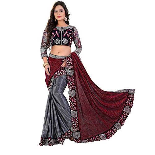 Siddeshwary Fab Saree With Blouse Piece (Red-lycra-s_Red_Free Size)