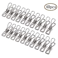 YingBao 40pcs Stainless Steel Clothes Pins, 5.6cm Multi-purpose Laundry Pegs
