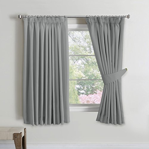 H.Versailtex Solid Thermal Insulated Blackout Pencil Pleat Anti   Mite  Curtains For Bedroom With Two Free Tiebacks   Grey, Energy Saving U0026 Noise  Reducting, ...