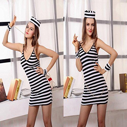 Kostüm Sexy Gefangener - DLucc C Halloween-Kostüm- Party-Kleidung Polizei und die schwarz-weiß gestreiften Gefangenen Kostüm Kleid weibliche Häftlinge