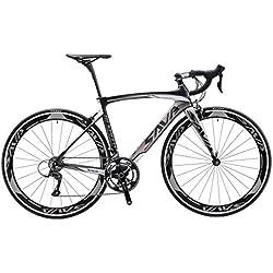 SAVA Bicicleta de Carretera de Fibra de Carbono 700C SHIMANO R3000 18 -Velocidad Sistema 8.6kg/18.99lb Bicicleta ultraligera (Negro Gris, 500MM)