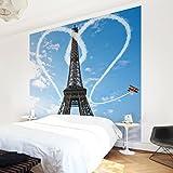 Vliestapete - Paris - City of Love - Fototapete Quadrat Vlies Tapete Wandtapete Wandbild Foto 3D Fototapete, Größe HxB: 192cm x 192cm