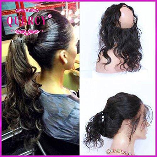 Quercy Cheveux® 360 Dentelle Band frontal Body Wave Remy Cheveux humains Naturel avec Hairline pour femme noire Couleur naturelle