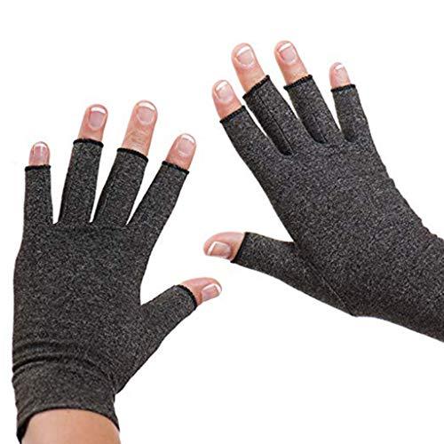 Routinfly Arthritis Handschuhe Kompressions Handschuhe rheumatischer Arthrose Hand Handschuhe bieten arthritischen Gelenkschmerzen Symptom Relief Männer Frauen Offene Finger (grau, 21x7.5CM) -