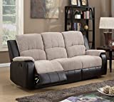 SC Furniture Ltd Beige/Brown Reclining Fabric Material 3 Seater Recliner Sofa Suite PASCARA (Three Seats)