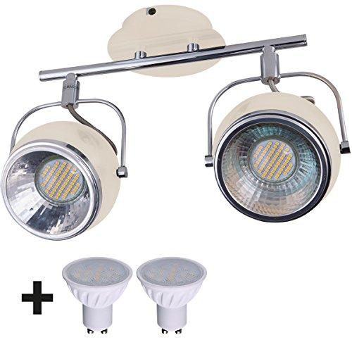insatech Strahler RETRO Deckenstrahler 2-flammig Metall Retrostrahler Wandstrahler inklusive LED Leuchtmittel, 5,0 W, vanille