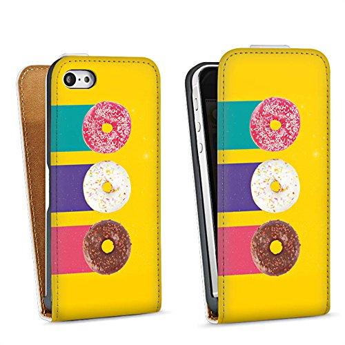 Apple iPhone 4 Housse Étui Silicone Coque Protection Donuts Sucreries Bonbon Sac Downflip blanc