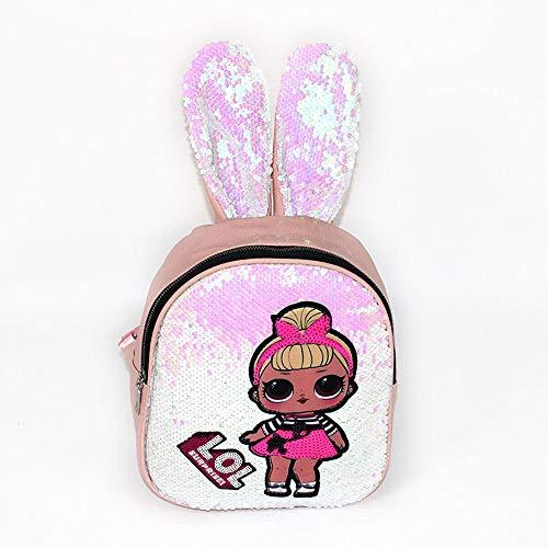 QYS Pailletten LOL Surprise Hasenohren Rucksack,Pink -