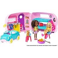 Barbie il Camper di Chelsea, Playset con Bambola, Veicolo, Roulotte e Tanti Accessori, Giocattolo per Bambini 3 + Anni, FXG90