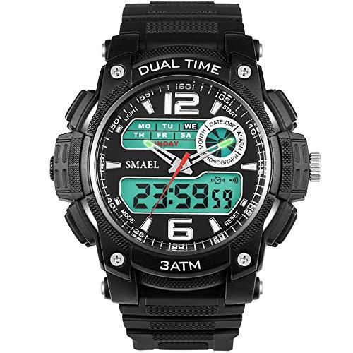Liabb Analoge Jungs Digitale Uhren-Outdoor-Sport-Kinder-Uhren, Wasserdichte elektronische analoge Sport-Armbanduhr mit Wecker für Teenager-Kinder,White,OneSize
