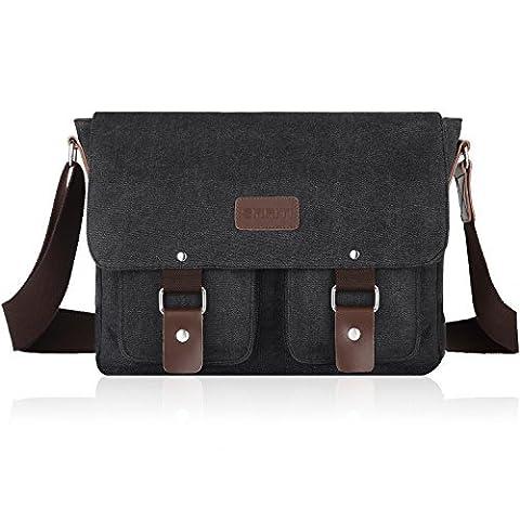 SMRITI 14-Inch Canvas Messenger Bag Laptop Satchel for School - Black