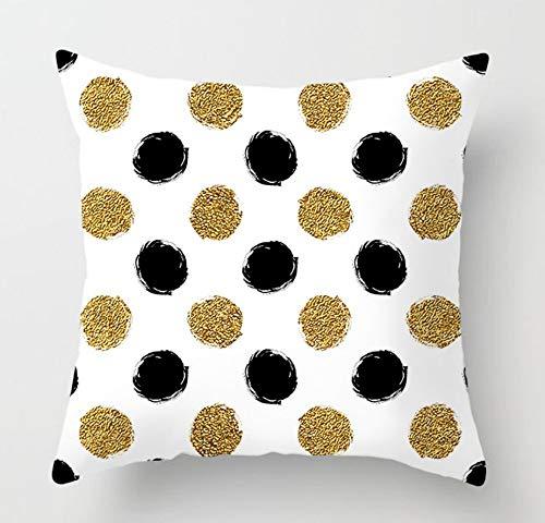 JWEK Sofa Hug Kissenbezug Einfache Geometrische Gestreifte Welle Gold -4-teiliges Set 45 * 45cm -