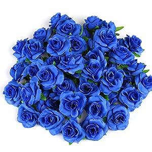 Kesote 50 Cabezas de Rosas Artificiales Flores Artificiales para Manualidades Decoración de Bodas Fiestas, Azul, 4 CM