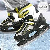 Physionics Pattini da ghiaccio per hockey sport per adulti & bambini regolabili giallo-nero con protezioni lame numero 30-33