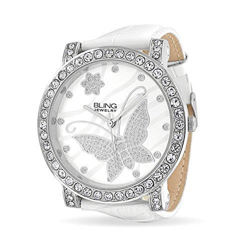 bling-jewelry-womens-cz-flower-butterfly-bianco-pelle-retro-in-acciaio-inossidabile-watch