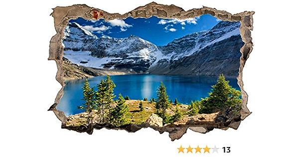 3D Wandsticker XXL Schnee Berge Wandtattoo Wandbild Aufkleber Ausblick Sticker