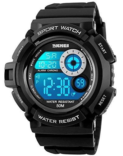 Herren Jungen Digital Sportuhr - Herren Jungen Kinder 50M Wasserdicht Multifunktion Lässige Reise Elektronisch Uhren mit 7 Farbe LED Beleuchtung Timer Wecker Stoppuhr Armbanduhr ( Schwarz )