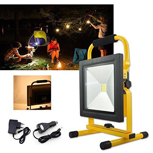 Hengda® lampada da lavoro a mano lampada faretto proiettore batteria illuminazione faro faretto Super sottile (50W Bianco Naturale)