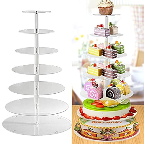 Femor Cake Stand 7 Tier Round Acrylic Cupcake Cup Cake